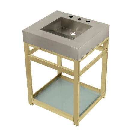 "Kingston Brass KVSP2522B2 Fauceture 25"" Stainless Steel Sink with Steel Console Sink Base, Brushed/Polished Brass"