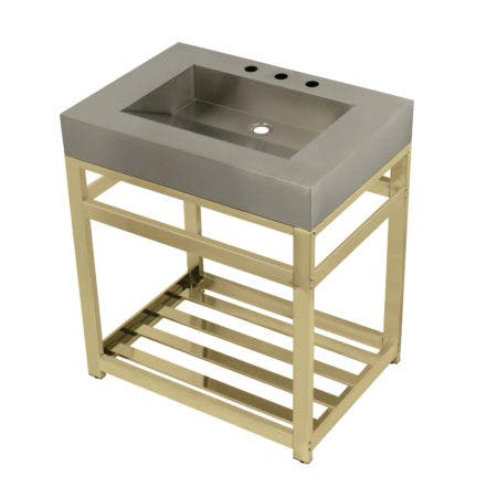 "Kingston Brass KVSP3122A2 Fauceture 31"" Stainless Steel Sink with Steel Console Sink Base, Brushed/Polished Brass"