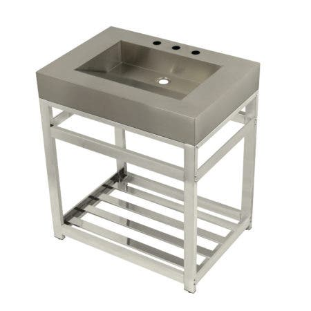 "Kingston Brass KVSP3122A6 Fauceture 31"" Stainless Steel Sink with Steel Console Sink Base, Brushed/Polished Nickel"