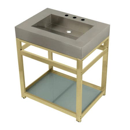 "Kingston Brass KVSP3122B2 Fauceture 31"" Stainless Steel Sink with Steel Console Sink Base, Brushed/Polished Brass"