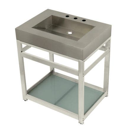 "Kingston Brass KVSP3122B6 Fauceture 31"" Stainless Steel Sink with Steel Console Sink Base, Brushed/Polished Nickel"