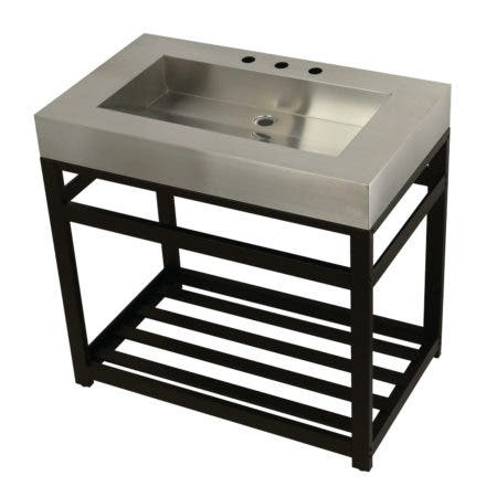 "Kingston Brass KVSP3722A5 Fauceture 37"" Stainless Steel Sink with Steel Console Sink Base, Brushed/Oil Rubbed Bronze"