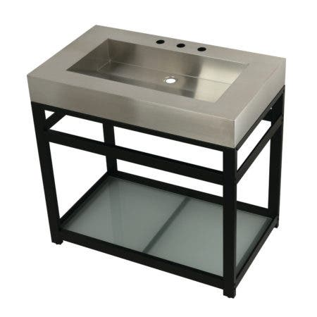 """Kingston Brass KVSP3722B0 Fauceture 37"""" Stainless Steel Sink with Steel Console Sink Base, Brushed/Matte Black"""