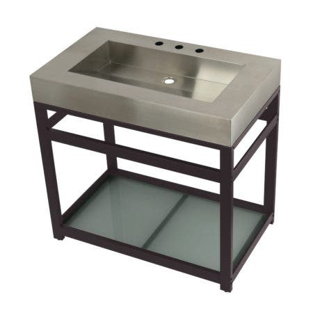 """Kingston Brass KVSP3722B5 Fauceture 37"""" Stainless Steel Sink with Steel Console Sink Base, Brushed/Oil Rubbed Bronze"""
