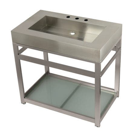 """Kingston Brass KVSP3722B8 Fauceture 37"""" Stainless Steel Sink with Steel Console Sink Base, Brushed/Brushed Nickel"""