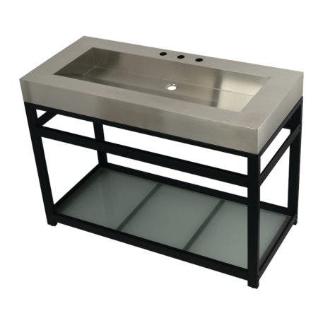 """Kingston Brass KVSP4922B0 Fauceture 49"""" Stainless Steel Sink with Steel Console Sink Base, Brushed/Matte Black"""