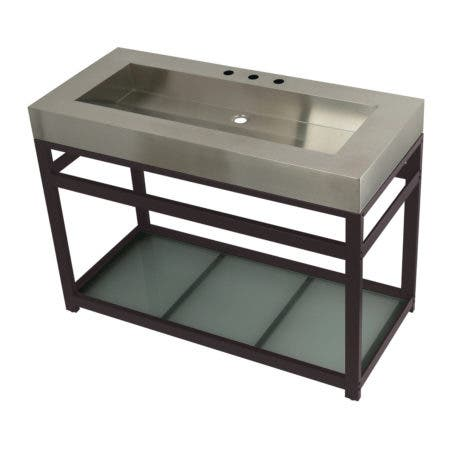 """Kingston Brass KVSP4922B5 Fauceture 49"""" Stainless Steel Sink with Steel Console Sink Base, Brushed/Oil Rubbed Bronze"""
