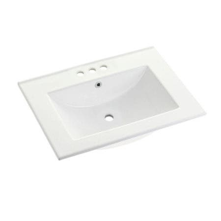 "Fauceture LBT24187W34 Ultra Modern 24-Inch X 18-Inch Ceramic Vanity Top (4"" Faucet Drillings), White"