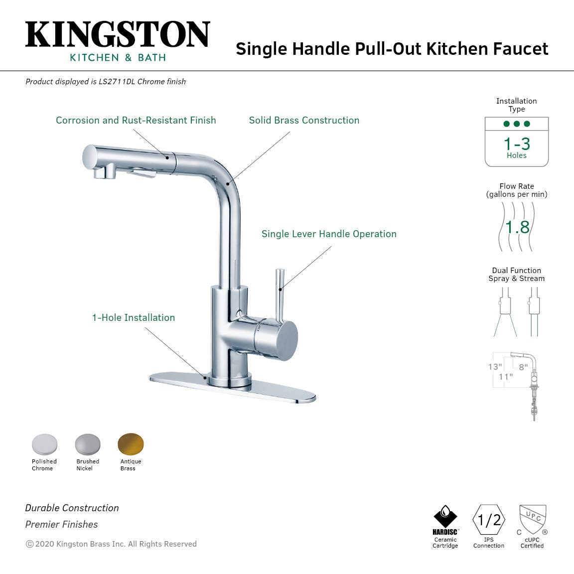 Gourmetier Ls2718dl Concord Single Handle Pull Out Kitchen Faucet Brushed Nickel Kingston Brass