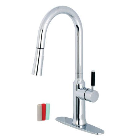 Gourmetier LS2721DKL Single-Handle Pull-Down Kitchen Faucet, Polished Chrome