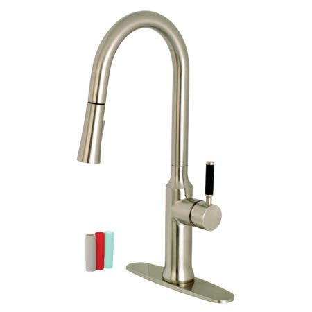 Gourmetier LS2728DKL Single-Handle Pull-Down Kitchen Faucet, Brushed Nickel