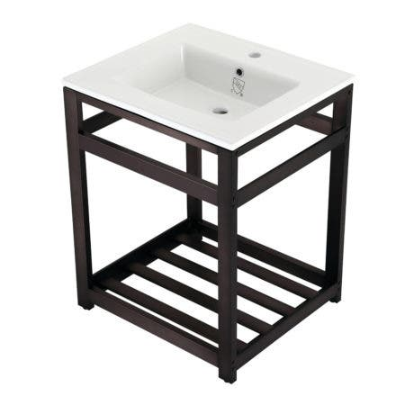 Kingston Brass VWP2522A5 25-Inch Ceramic Console Sink (1-Hole), White/Oil Rubbed Bronze