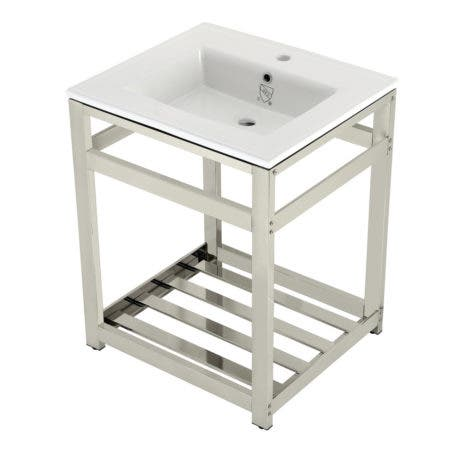 Kingston Brass VWP2522A6 25-Inch Ceramic Console Sink (1-Hole), White/Polished Nickel