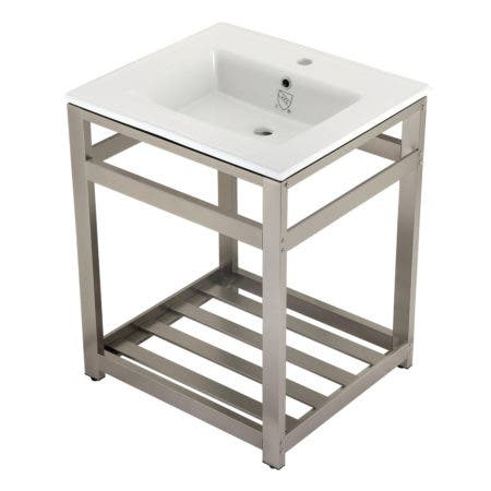 Kingston Brass VWP2522A8 25-Inch Ceramic Console Sink (1-Hole), White/Brushed Nickel