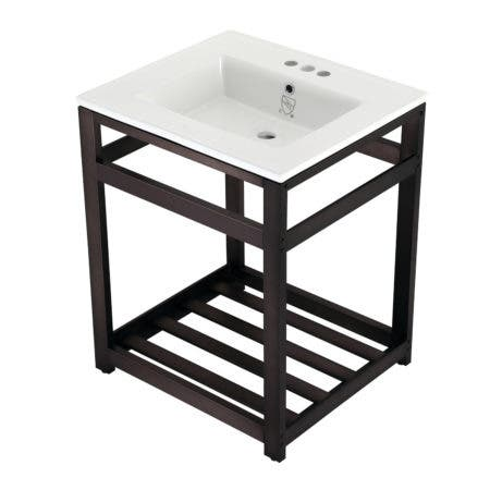 Kingston Brass VWP2522W4A5 25-Inch Ceramic Console Sink (4-Inch, 3-Hole), White/Oil Rubbed Bronze