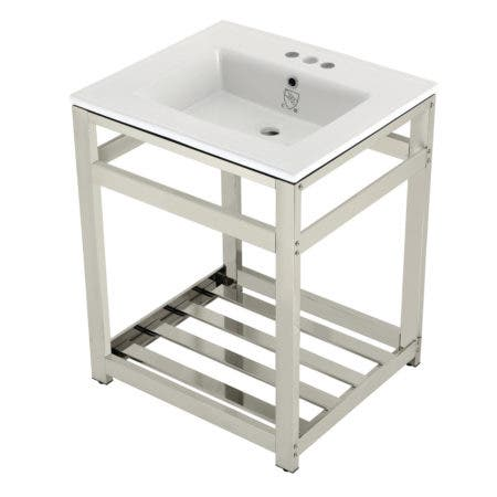 Kingston Brass VWP2522W4A6 25-Inch Ceramic Console Sink (4-Inch, 3-Hole), White/Polished Nickel