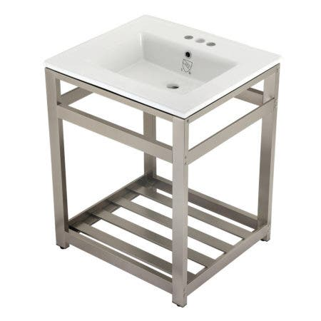 Kingston Brass VWP2522W4A8 25-Inch Ceramic Console Sink (4-Inch, 3-Hole), White/Brushed Nickel
