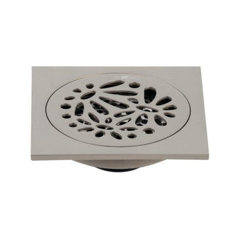 """Kingston Brass BSF6360BN Watercourse Floral 4"""" Square Grid Shower Drain, Brushed Nickel"""