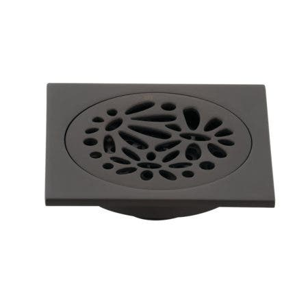 """Kingston Brass BSF6360ORB Watercourse Floral 4"""" Square Grid Shower Drain, Oil Rubbed Bronze"""