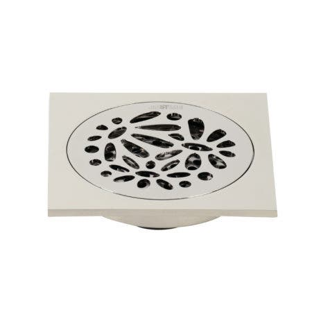 """Kingston Brass BSF6360PN Watercourse Floral 4"""" Square Grid Shower Drain, Polished Nickel"""