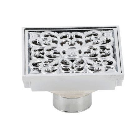 """Kingston Brass BSF9771C Watercourse Scroll 4"""" Square Grid Shower Drain, Polished Chrome"""