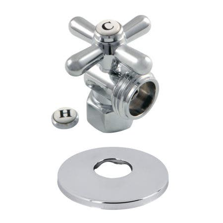 Kingston Brass CC13001XK 1/2-Inch IPS X 3/4-Inch Hose Thread Quarter-Turn Angle Stop Valve with Flange, Polished Chrome