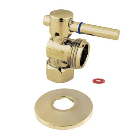 Kingston Brass CC13002DLK 1/2-Inch IPS X 3/4-Inch Hose Thread Quarter-Turn Angle Stop Valve with Flange, Polished Brass
