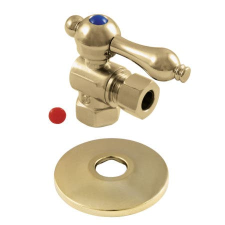 Kingston Brass CC33102K 3/8-Inch IPS X 3/8-Inch OD Comp Quarter-Turn Angle Stop Valve with Flange, Polished Brass