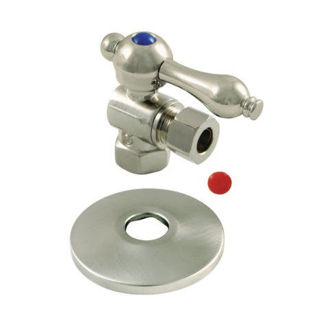 Kingston Brass CC33108K 3/8-Inch IPS X 3/8-Inch OD Comp Quarter-Turn Angle Stop Valve with Flange, Brushed Nickel