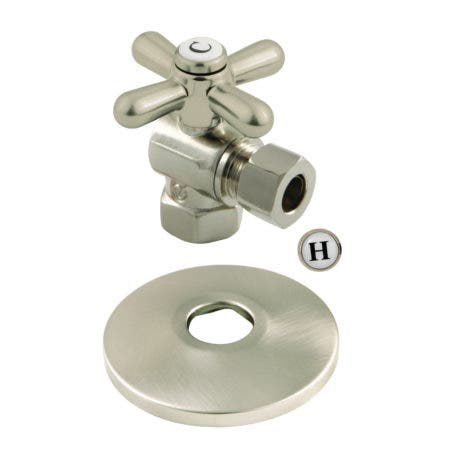 """Kingston Brass CC33108XK 3/8"""" IPS X 3/8"""" OD Comp Quarter-Turn Angle Stop Valve with Flange, Brushed Nickel"""