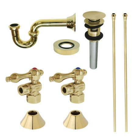 Kingston Brass CC43102VOKB30 Traditional Plumbing Sink Trim Kit with P-Trap and Overflow Drain, Polished Brass