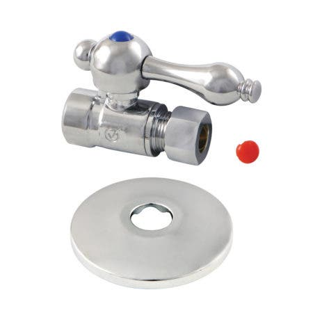 Kingston Brass CC43251K 1/2-Inch Sweat 3/8-Inch O.D. Comp Straight Stop Valve with Flange, Polished Chrome