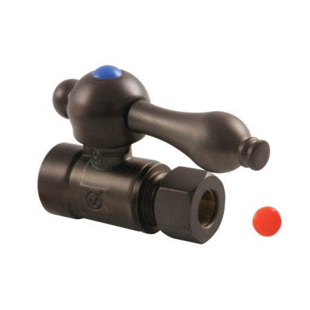 "Kingston Brass CC43255 1/2"" Sweat X 3/8"" O.D. Comp Straight Shut-Off Valve, Oil Rubbed Bronze"