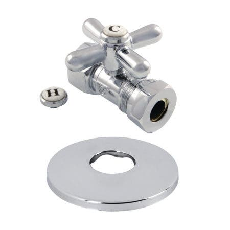 Kingston Brass CC44151XK 1/2-Inch FIP X 1/2-Inch or 7/16-Inch Slip Joint Quarter-Turn Straight Stop Valve with Flange, Polished Chrome