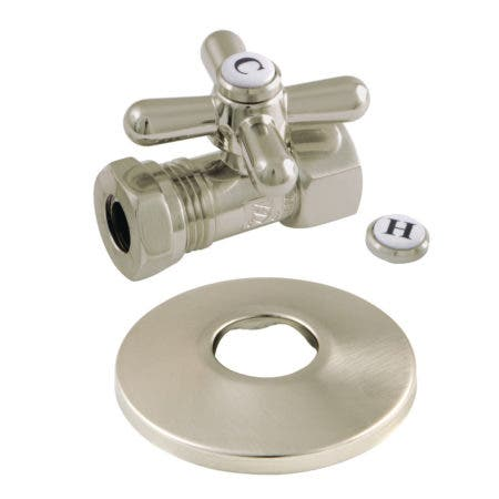 Kingston Brass CC44158XK 1/2-Inch FIP X 1/2-Inch or 7/16-Inch Slip Joint Quarter-Turn Straight Stop Valve with Flange, Brushed Nickel