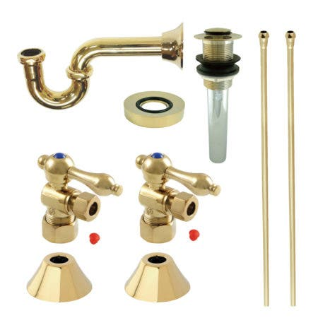 Kingston Brass CC53302VKB30 Traditional Plumbing Sink Trim Kit with P-Trap and Drain, Polished Brass