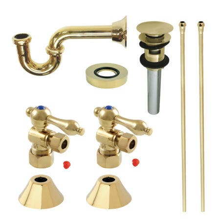 Kingston Brass CC53302VOKB30 Traditional Plumbing Sink Trim Kit with P-Trap and Overflow Drain, Polished Brass