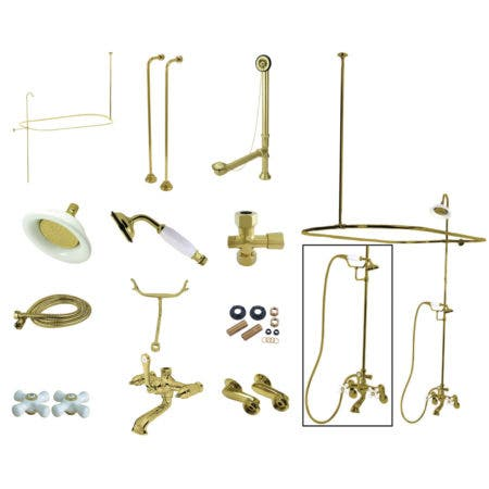 Kingston Brass CCK1142PX Vintage Clawfoot Tub Package with Porcelain Cross Handles, Polished Brass