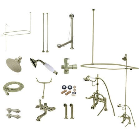 Kingston Brass CCK1178DAL Vintage Clawfoot Tub Faucet Package with Shower Enclosure, Brushed Nickel