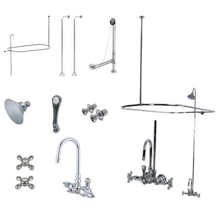 Kingston Brass CCK4141AX Vintage Wall Mount High Rise Clawfoot Tub and Shower Package with Metal Cross Handles, Polished Chrome