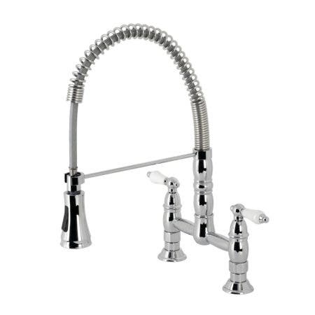 Gourmetier GS1271PL Heritage Two-Handle Deck-Mount Pull-Down Sprayer Kitchen Faucet, Polished Chrome