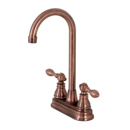 Kingston Brass KB496ACL American Classic Two-Handle High-Arc Bar Faucet, Antique Copper