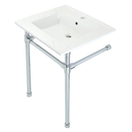 "Kingston Brass KVPB2522711 Dreyfuss 25"" Console Sink with Stainless Steel Legs (Single Faucet Hole), White/Polished Chrome"