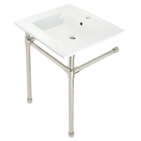 """Kingston Brass KVPB2522716 Dreyfuss 25"""" Console Sink with Stainless Steel Legs (Single Faucet Hole), White/Polished Nickel"""