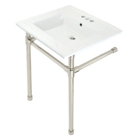"""Kingston Brass KVPB25227W46 Dreyfuss 25"""" Console Sink with Stainless Steel Legs (4-Inch, 3 Hole), White/Polished Nickel"""