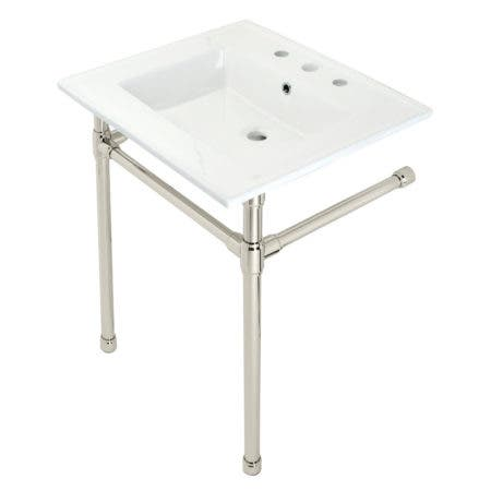 """Kingston Brass KVPB25227W86 Dreyfuss 25"""" Console Sink with Stainless Steel Legs (8-Inch, 3 Hole), White/Polished Nickel"""