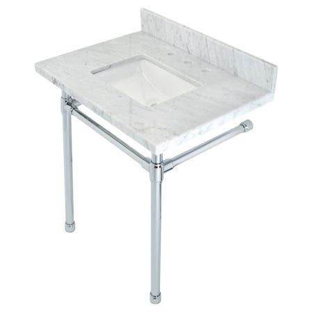 """Kingston Brass KVPB30M8SQ1ST Dreyfuss 30"""" x 22"""" Carrara Marble Vanity Top with Stainless Steel Legs, Marble White/Polished Chrome"""