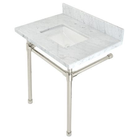 """Kingston Brass KVPB30M8SQ6ST Dreyfuss 30"""" x 22"""" Carrara Marble Vanity Top with Stainless Steel Legs, Marble White/Polished Nickel"""