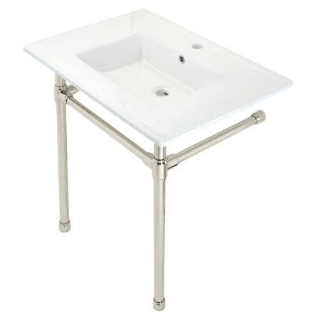 """Kingston Brass KVPB3122716 Dreyfuss 31"""" Console Sink with Stainless Steel Legs (Single Faucet Hole), White/Polished Nickel"""