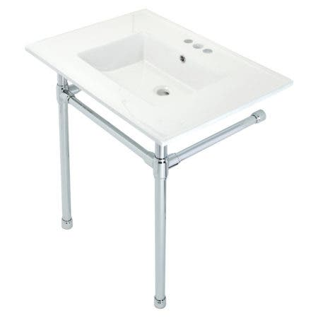 "Kingston Brass KVPB31227W41 Dreyfuss 31"" Console Sink with Stainless Steel Legs (4-Inch, 3 Hole), White/Polished Chrome"